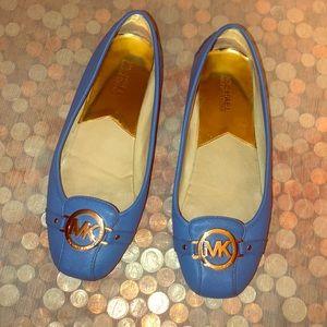 Michael Kors Blue Saffiano Leather Ballet Flats